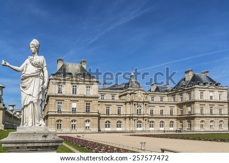 Luxembourg Palace (Palais du Petit-Luxembourg) - home of president of French Senate. Palace was built as a royal residence for Marie de Medici.  - stock photo