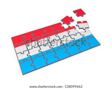 Luxembourgian flag made of puzzles.Isolated on white background.3d rendered. - stock photo