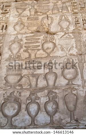 Luxor Egypt Hyerogliphs detail - stock photo