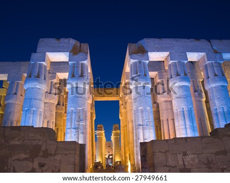 Luxor Temple at night, Thebes