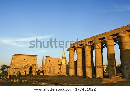 Luxor Temple at sunset, modern day Luxor or ancient Thebes, Egypt