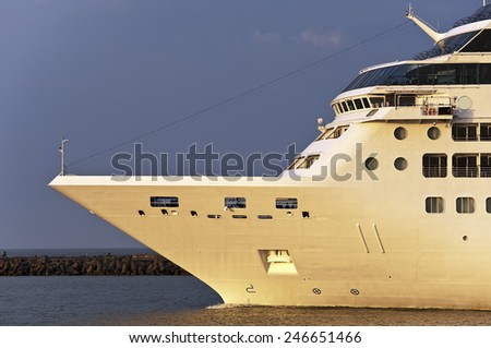 Luxure cruise liner in port. - stock photo