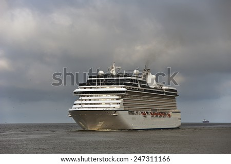 Luxure cruise liner in the sea - stock photo