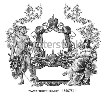 Luxuriosly illustrated old victorian frame with  man and woman.