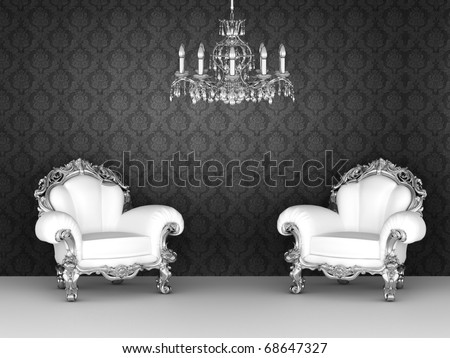 Luxurious armchairs in baroque interior. Ornament wallpapers. - stock photo