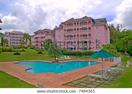 luxurious beachfront condominium - stock photo