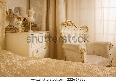 Luxurious bedroom in the vintage style - stock photo