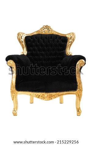 Luxurious black armchair isolated on white background
