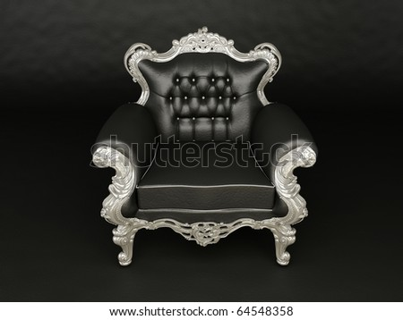 Luxurious black  armchair with silver frame  on the black background