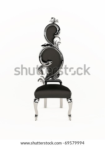 Luxurious chair with royal frame isolated on white background - stock photo
