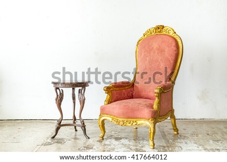 Luxurious classical style Armchair sofa couch in vintage room with desk