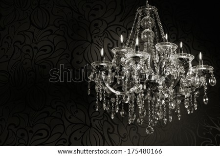 luxurious crystal chandelier with candles  - stock photo