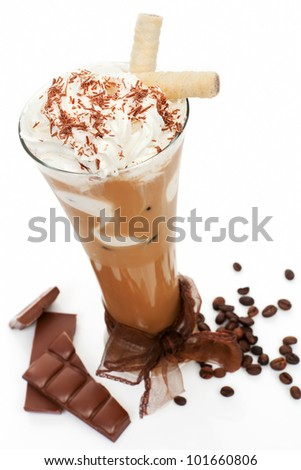 Luxurious delicious iced coffee with foam with chocolate and coffee beans isolated on white. Cool summer drink concept. - stock photo