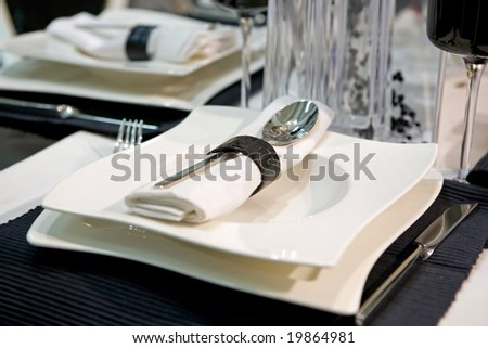 Luxurious dinner in black and white - stock photo