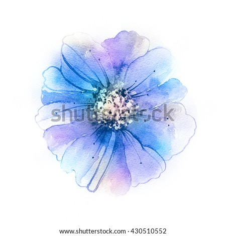 Luxurious flower painted in pastel colors. Violet flower in watercolor paintings. - stock photo