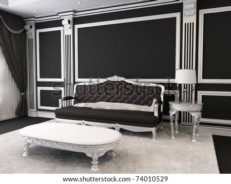 Luxurious furniture in royal interior od apartment - stock photo
