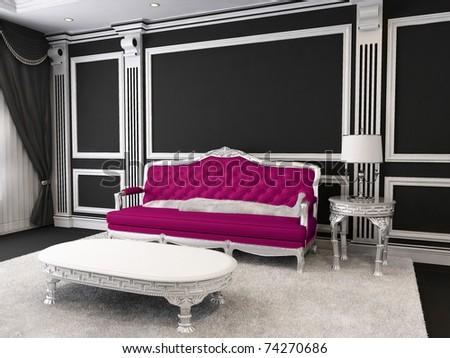 Luxurious furniture. Sofa in royal interior - stock photo