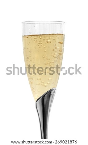Luxurious glass of champagne isolated on white - stock photo