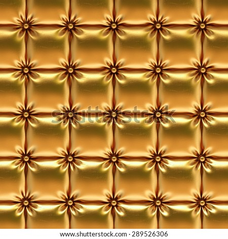 luxurious gold leather texture upholstery. - stock photo