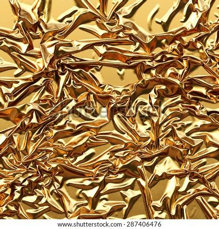 luxurious gold satin background close up - stock photo