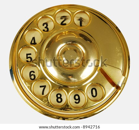 Luxurious golden vintage telephone dial isolated - stock photo