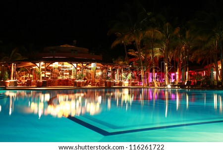 Luxurious hotel night illumination, Mauritius - stock photo