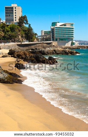 Luxurious hotel on the coast in Vi?a del Mar, Chile - stock photo