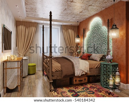 Luxurious Interior Of A Oriental Style Bedroom. 3d Render