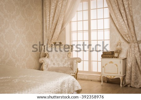 Luxurious  interior of a vintage style bedroom