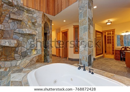 Luxurious Mansion Bathroom Features Drop In Bathtub Stock Photo ...