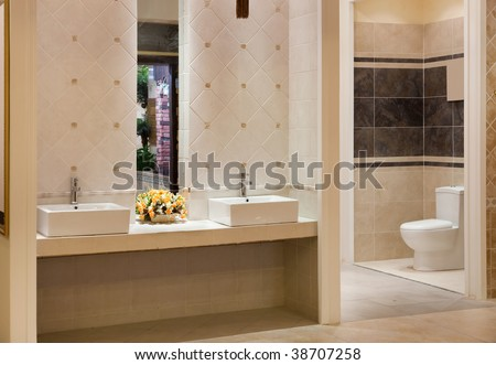 Luxurious modern bathroom with water sinks and toilet bowl - stock photo