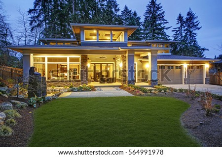 Luxurious New Construction Home Exterior Front Stock Photo ... on Outdoor Living Spaces Nw id=28808