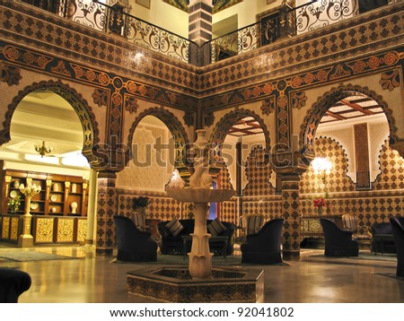 Luxurious oriental hotel in Tunisia : - stock photo
