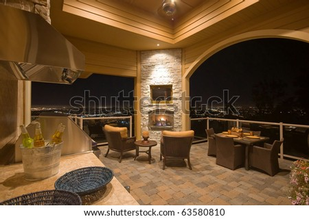 Luxurious Outdoor Patio with Barbecue - stock photo