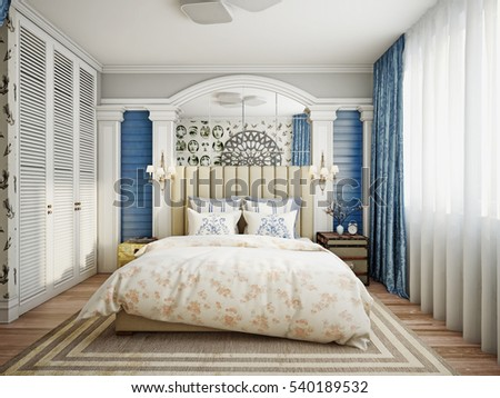 Luxurious Provence Style Bedroom, With Designer Furniture And Decor. 3D  Render
