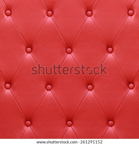 Luxurious red leather seat upholstery use for background - stock photo