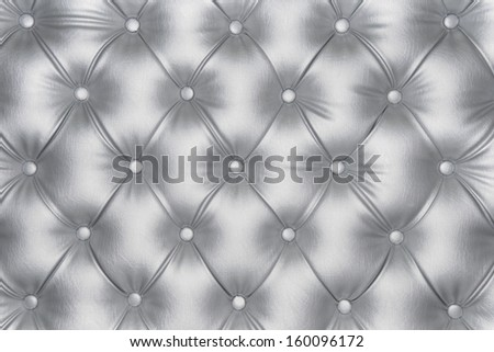 Luxurious silver leather texture furniture with buttons  - stock photo