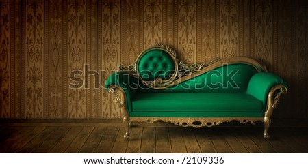 Luxurious Sofa In Grunge Styled Interior - stock photo