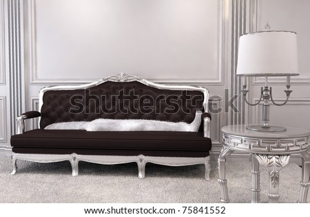 Luxurious sofa in modern interior. Luxe. Furniture in royal apartment. Hall. Relaxation room - stock photo