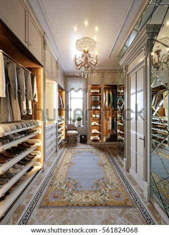 Exceptional Luxurious Walk In Closet Wardrobe Room In Large House In Classic Style. 3d  Render