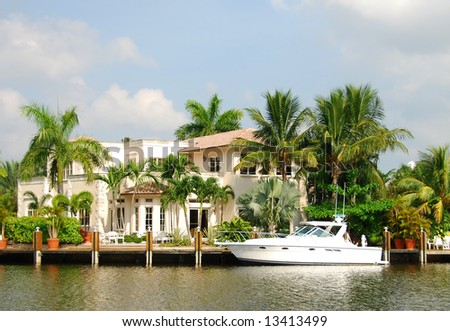 Luxurious waterfront home in Florida - stock photo