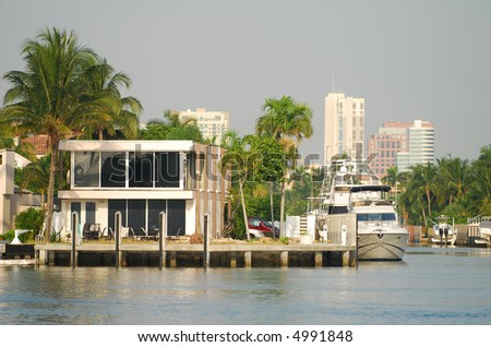 Luxurious waterfront real estate - stock photo