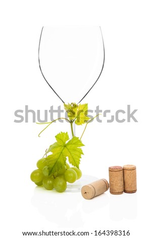 Luxurious wine glass with green grapes, vine leaves and various wine corks isolated on white background. Luxurious wine still life. - stock photo