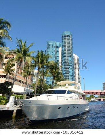 Luxurious yachts and real estate in South Florida - stock photo