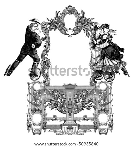 Luxuriously illustrated old victorian frame with two woman and man on roller skates.