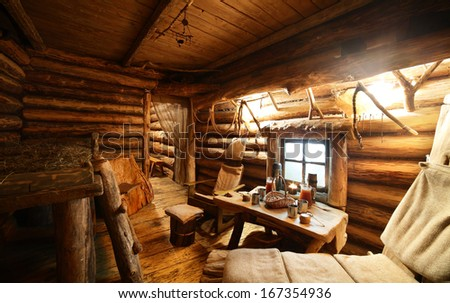 luxury and cute interior of wooden russian sauna