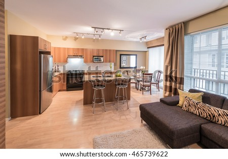Luxury and nicely decorated living set, kitchen and the living suite, room. Interior design.