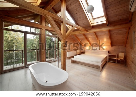 luxury and very clean empty european room - stock photo