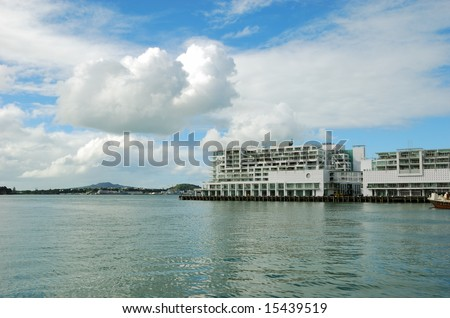 luxury apartment at seaside - stock photo