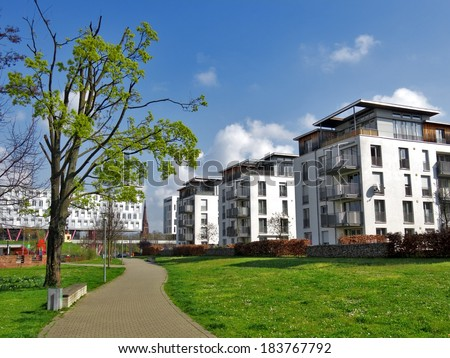 Luxury apartment blocks - stock photo